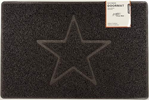Nicoman Estrella Felpudo Logotipo en Relieve Rizos de Vinilo Entrada Bienvenido Lavable Alfombra-(Usar en Interiores y Exteriores), Pequeño (60x40cm), Marrón