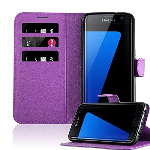 Cadorabo Funda Libro para Samsung Galaxy S7 Edge en Violeta DE MANGANESO - Cubierta Proteccíon con Cierre Magnético, Tarjetero y Función de Suporte - Etui Case Cover Carcasa