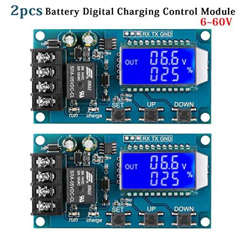 2 Stücke DC6-60V 10A LCD Digital Lithium Batterie Lademodul Speicherbatterie Ladesteuermodul Überladungsschutz Automatische Zeitsteuerung BMS Modul XY-L10A