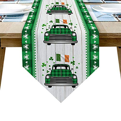 QAZQAZ St Patrick S Day Clover Truck Camino de Mesa de Madera para Comedor en casa Mesa de té Zapatero Cubierta del gabinete Bandera de la Mesa Decoración del Banquete de boda-41x183cm