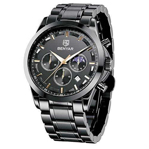 BENYAR Herrenuhr Chronograph Edelstahl Analoge Quarzuhr 30M wasserdichte Anti-Kratzer-Uhr Silver Date Business Watch