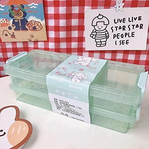hongruida Cartoon-Aufbewahrungsbox mit 2 Ebenen, transparent, für den Schreibtisch, magische Aufbewahrungsbox, Stiftehalter, für Schule, Büro, Schreibwaren (Farbe: Lvse)