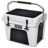 MightySkins (Cooler Not Included) Skin Compatible With Yeti Roadie 20 Qt Cooler Wrap Cover Sticker Skins Black Diamond Plate