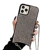SGVAHY Funda de moda compatible con iPhone, carcasa trasera de diamante brillante y protector de pantalla con cadena de metal para mujer, ultrafina, a prueba de golpes, color negro, iPhone 11 Pro