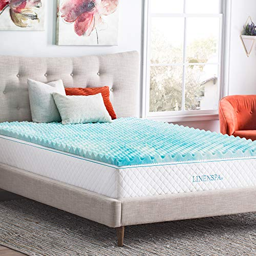 Linenspa 2 Inch Convoluted Gel Swirl Memory Foam Mattress Topper - Promotes Airflow - Relieves Pressure Points - King