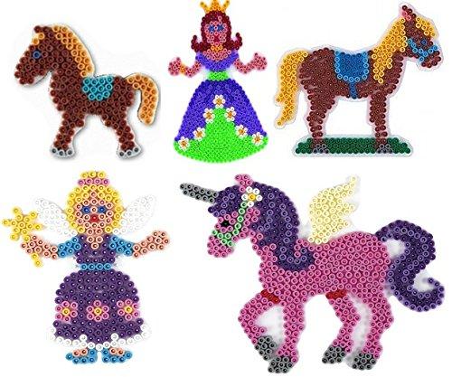 Hama Happy Price Toys Midi Stiftplatten (Set 25 - Auf dem Ponyhof Set) - Pferd,Pony,Einhorn ,Fee,Prinzessin + 100 Gratis Perlen
