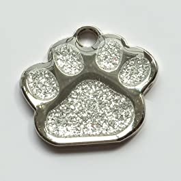 Engraved 27mm Glitter SILVER Paw Shaped Pet ID Tag- In Stock and Supplied by Busy Bits