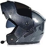 YLFC Bluetooth Integrado Casco de Moto Modular Dot/ECE Homologado con Doble Visera Cascos de Motocicleta a Prueba de Viento para Adultos Hombres Mujeres (Color : 9, Size : L)