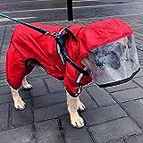 KoKoBin Cappottino Catarifrangente per Cani Poncho Antipioggia Ultraleggero Cappuccio Riflettente Regolabile per Grandi Cani Animali(Rosso, XL)