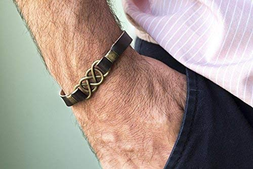 Men's Bracelet, Genuine Brown Leather Cuff, Brass Plated Infinity Celtic Knot Pendant, Tribal Boho Jewelry, Handmade Wrist Band for Guys by Magoo