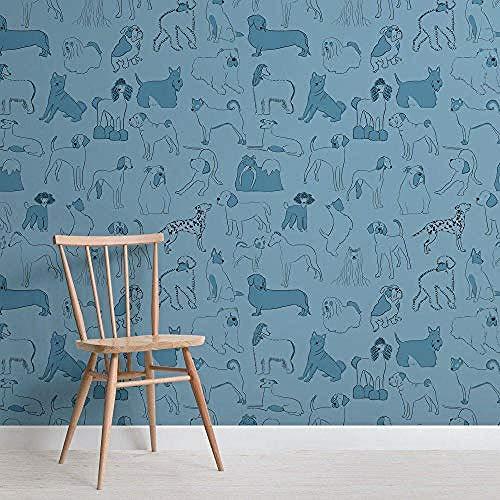 Papel pintado personalizado moderno nórdico azul Bulldog y perro salchicha patrón de papel tapiz para mascot Pared Pintado Papel tapiz 3D Decoración dormitorio Fotomural sala sofá mural-400cm×280cm