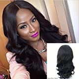 JYL Hair Loose Wave 360 Silk Base Lace Frontal Wig Brazilian Virgin Hair with 4x4 Silk Top Pre Plucked Hairline Human Hair Lace Wigs 180% Density Baby Hair for Black Women (14'', 180% natural color)
