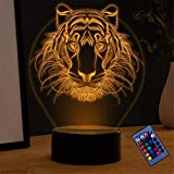 Tigre 3D lámpara de ilusión óptica noche luz lava lámparas para niños juguetes para niños, 7 años de edad regalo niño edad 7 6 5 4 3
