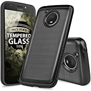 Motorola Moto E4 Plus Case, with TJS [Full Coverage Tempered Glass Screen Protector] Dual Layer Hybrid Shock Absorption Case Carbon Fiber Metallic Brush Finish Back Hard TPU Inner Layer
