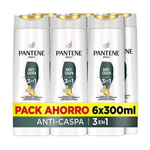 Pantene Pro-V Anti-Caspa Champú, Acondicionador Y Tratamiento 3En1, Deja El Pelo Increíblemente Limpio, 6 x 300ml