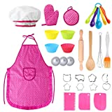 Hicdaw 31PCS Kids Cooking Set Girl Toys for Girls Chef Hat Cooking Apron Set for Kids with Chef Hat Oven Mitt Cooking Utensils