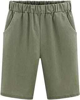 kaiCran Women Summer Casual Shorts Solid Color Plus Size Elastic Waist Summer Beach Shorts with Pockets S-5XL