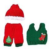 Tomaibaby Bebé Recién Nacido Navidad Santa de Punto Crochet Fotografía Prop Traje Trajes para Niños Bebés Niños Niñas Sombrero de Navidad Set L