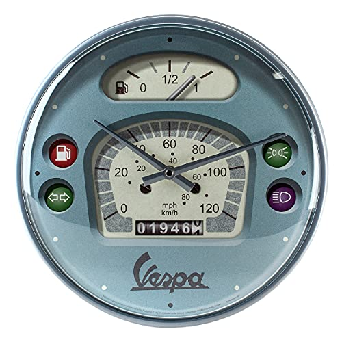 Nostalgic-Art, Reloj Retro de Pared, Vespa Tacho – Idea de Regalo para Aficionados a Scooters, Gran decoración para la Cocina, Diseño Vintage, Ø 31 cm