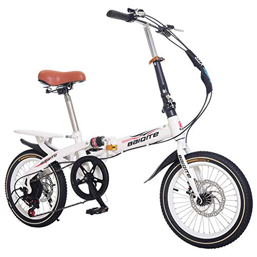 LQLD Bicicletas De Montaña para Adultos,Ahorra Espacio Bicicletas Plegables Acero Al Carbono Bicicletas De Montaña con Asiento Cómodo Rueda De Radios Mountain Trail Bike,Blanco,20 Inches