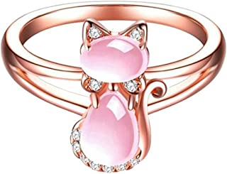 Rose Gold Pink Fleurstone Cat Rhinestones Animal Ring Women Kids