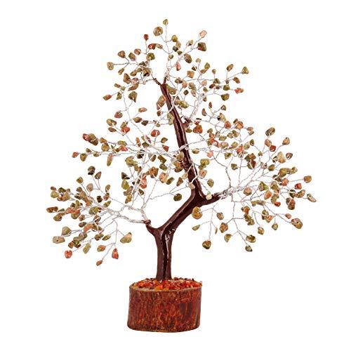FASHIONZAADI Unakite Buddha Tree Reiki Healibng Good Luck Charm Ornaments Natural Gemstone Prosperity Crystals Bonsai Trees Wealth Feng Shui Decor Silver Wire Money Aura Cleansing 10-12 Inch
