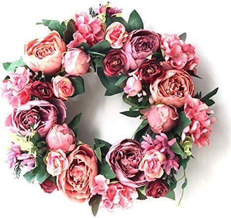 Ewer trend rank Artificial Peony Flower Wreath Wrea store Silk 15.7-Inch Handmade