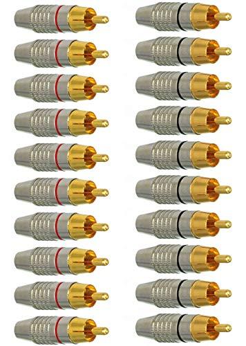 EEEKit RCA Plug Solder Gold Audio Audio Adaptador Conector de Cable Conector de Cable (Paquete de 20)