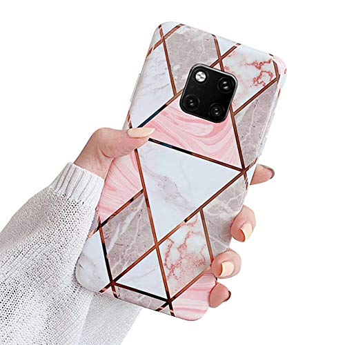 MoreChioce kompatibel mit Huawei Mate 20 Pro Hülle,Huawei Mate 20 Pro Hülle Marmor,Kreativ Geometrie Bling Sparkle Matt Silikon Handyhülle Ultra Dünn Transparent Crystal Bumper,Grau Marmor