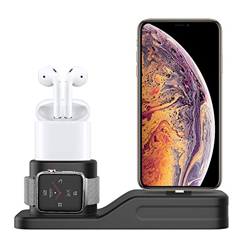 MoKo Stand 3 in 1 per Apple Watch, Supporto e Stazione di Ricarica in Silicone per iWatch Series 4 2018, Series 3 2 1, 38mm  42mm  40mm  44mm, AirPods, iPhone XS Max XS XR X  8 8 Plus, Nero