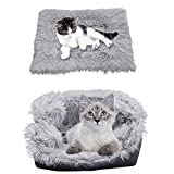 iHeartYard Furry Self Warming Cat Bed Mat, 2-in-1 Soft Pet Sleeping Blanket Cushion Bed Pad for Cats Small Dogs, Comfy Pet Heated Nest Mat Anti-Slip for Cats and Puppies White