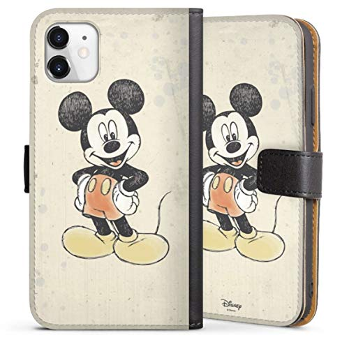 DeinDesign Klapphülle kompatibel mit Apple iPhone 11 Handyhülle aus Leder schwarz Flip Hülle Offizielles Lizenzprodukt Disney Maus