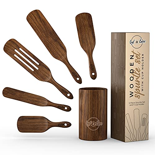 5 pcs Spurtle Set With Cup Holder Premium Natural Teak Wood, Slotted Spatulas Spoons, Utensils for Kitchen, Heat Resistant For Stirring, Mixing, Serving With Hanging Hole Cookware As Seen On TV