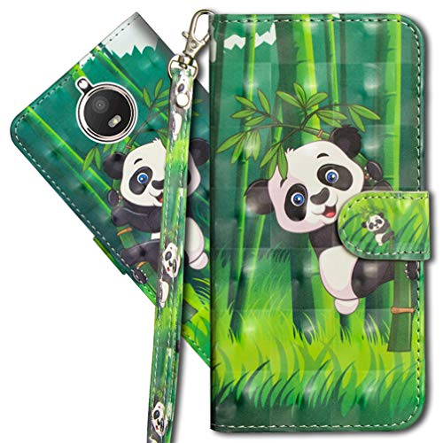 MRSTER Moto E4 Plus Handytasche, Leder Schutzhülle Brieftasche Hülle Flip Case 3D Muster Cover mit Kartenfach Magnet Tasche Handyhüllen für Motorola Moto E4 Plus UK. YX 3D - Panda Bamboo