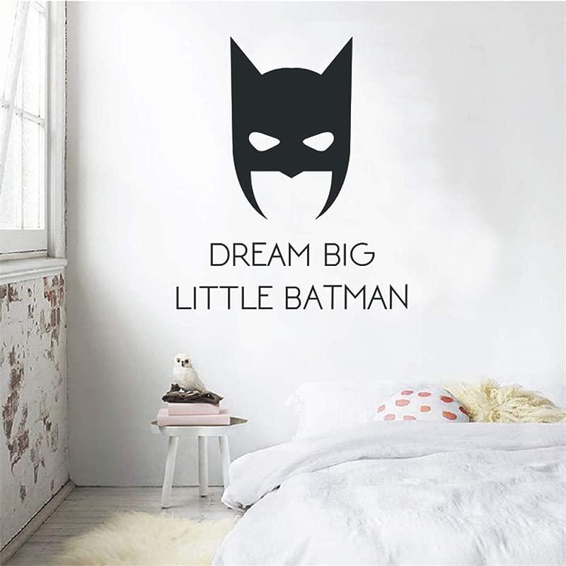 Quotes Wall Stickers Removable Vinyl Art Decal Quotes Dream Big Little Batman Cartoon Cool Batman Poster Kids Boys Room