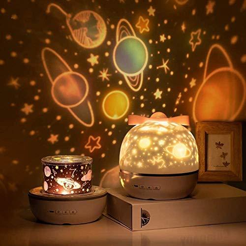 SUVOM Lámpara Proyector Infantil 360° Rotación Lampara Luz Nocturna LED para Bebés, con 6 Películas de Proyección, Aplicar para Niños y Bebés, Cumpleaños, Vacaciones, Navidad, Halloween