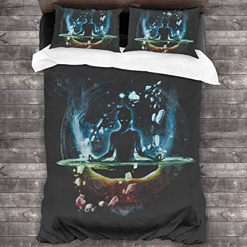 The Last Space Bender Legend Of Korra Juego de ropa de cama de 3 piezas, funda de edredón de 86 x 70 pulgadas, tamaño Queen decorativa de 3 piezas con 2 fundas de almohada