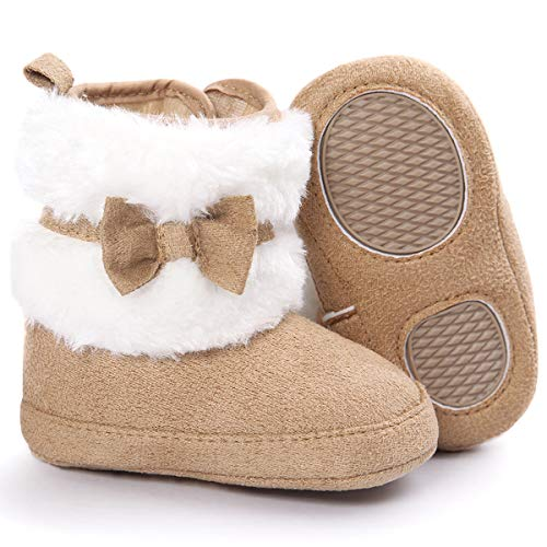 COSANKIM Baby Booties Baby Girl Shoes Winter Warm Fur Lining Non-Slip Lace Up Newborn Boots Infant Toddler First Walker Crib Shoes(0-6 Months Infant,B-Dark Brown)