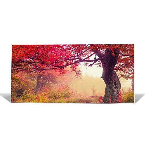 banjado Design Magnettafel weiß | Wandtafel magnetisch 37x78cm groß | Metall Pinnwand | Memoboard mit Magneten und Montageset | Motiv Lichtung Im Herbst