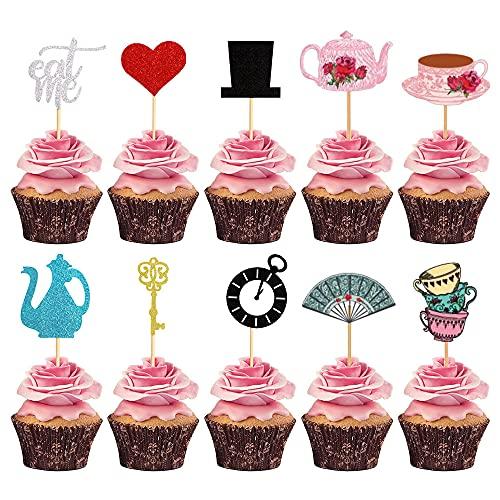 LaVenty 18 PCS Alice In Wonderland Theme Cupcake Topper Tea Party Cupcake Picks Lets Partea Cake Decoration Tea Party Supplies Alice In Wonderland Party Supplies