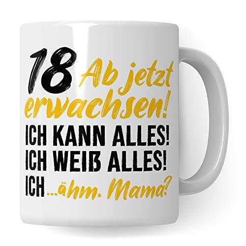 Pagma Druck 18 Jahre Geburtstag Tasse, Geburtstagsgeschenk 18. Jahre alt Werden Becher Spruch Geschenkidee, Kaffeetasse Achtzehn Junge Mädchen (Weiß/Weiß)