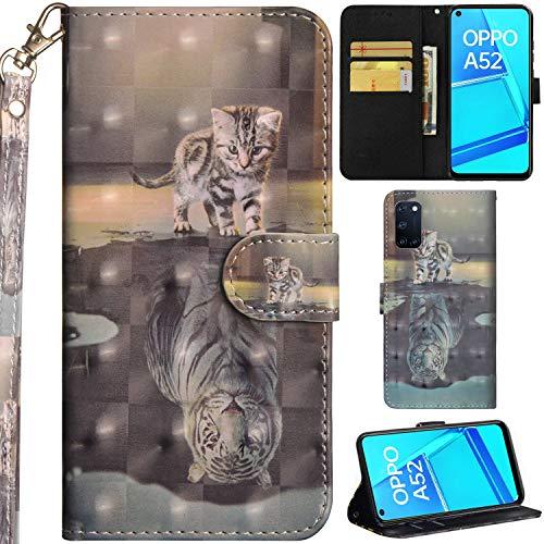 C/N DodoBuy Hülle für Oppo A52/A72/A92, 3D Flip PU Leder Schutzhülle Handy Tasche Wallet Hülle Cover Ständer mit Trageschlaufe Magnetverschluss - Katze Tiger