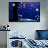 Giow Starlight Wall Lighted Pintura Imprime en Lienzo LED Light Up Arte de Pared Decoración Marcos de Madera y Listo para Colgar en la habitación de los niños, 35x50cm