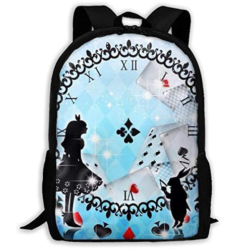 wobuzhidaoshamingzi Lässiger Rucksack Alice im Wunderland Print Reißverschluss Schultasche Travel Daypack Backpack-FQ1-OLC