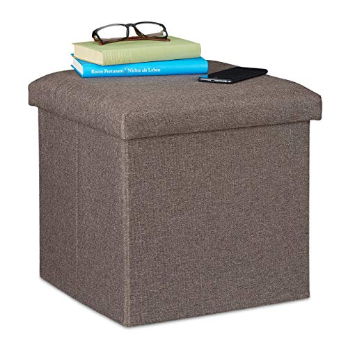 Relaxdays Sitzhocker mit Stauraum, faltbar, weich gepolstert, eckig, Stoff, Sitzwürfel, HBT: 37x37,5x37,5 cm, Graubraun
