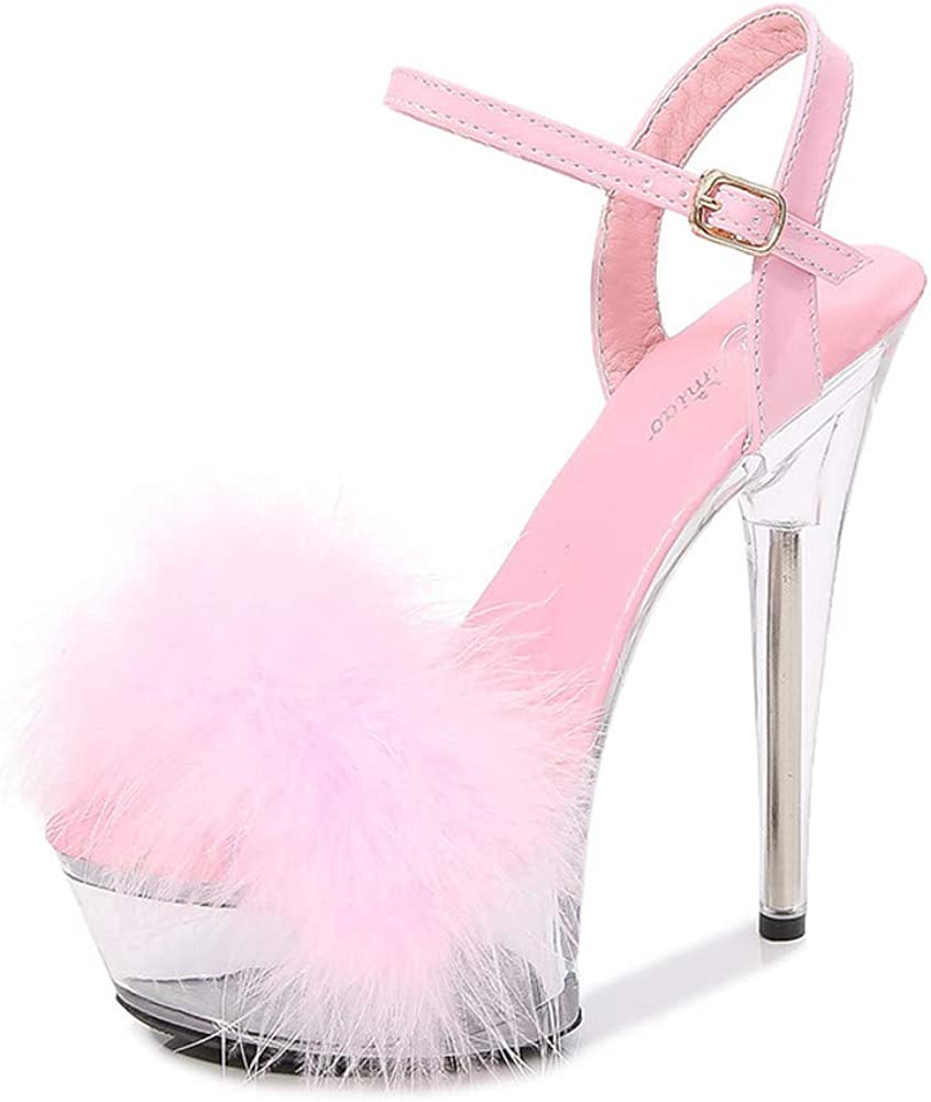 Ankle Strap Clear NEW Platform Max 42% OFF Fluffy Sandals Stiletto Heels
