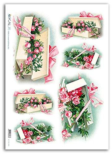 Accademia del Decoupage 32 x 45 cm carta di riso, box di stoccaggio con fiore d'epoca