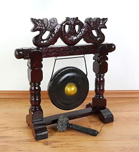 livasia Gong, Kleiner Stand-Gong incl. Schlegel und Holzständer, Handarbeit aus Bali (Indonesien) (braun mit Drachen)