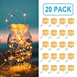 fairy jar lights - MUMUXI 20 Pack Fairy Lights Battery Operated, 3.3ft 20 LED Mini Waterproof Fairy String Lights Copper Wire Firefly Starry Lights for DIY Wedding Party Mason Jars Crafts Christmas Decoration,Warm White