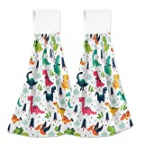 Aslsiy Dinosaur Pattern Hanging Kitchen Towels Dinosaurs Forest Cloud Dot Bathroom Hand Tie Towel Fast Drying Dish Tea Towels for Bath Tabletop Gym Home Decor Set of 2